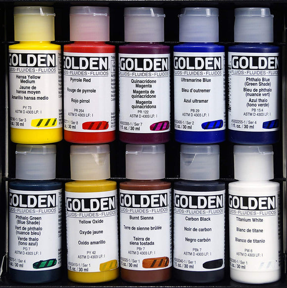 Golden Fluid Set - 10 x 1oz - Wyndham Art Supplies