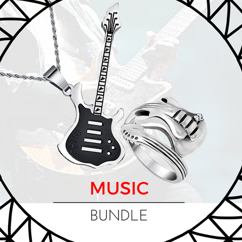 "Bundle-The Titanium Rockstar Ring+""Guitarist Solo"" 316L StainLess Steel Necklace"
