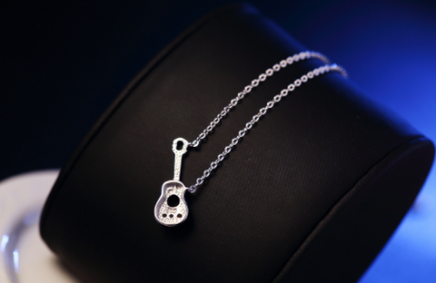 .925 Sterling Silver Guitar Necklace