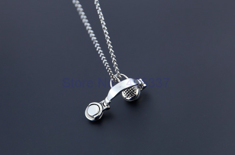 18K White Gold Plated Headset Necklace for Men