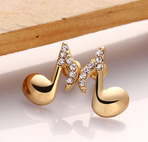 18k Gold Plated Eighth Note Studs