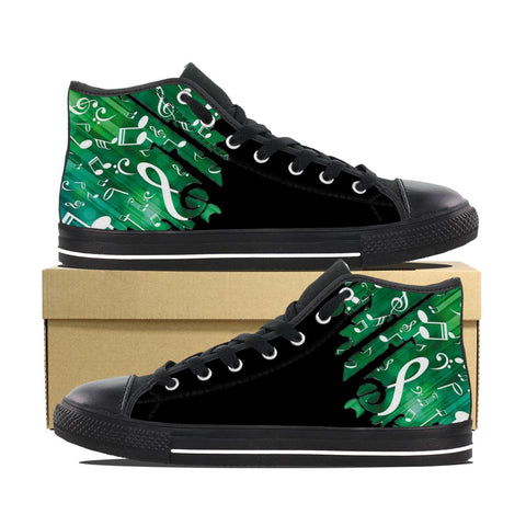 Green Music Notes High Top Shoes