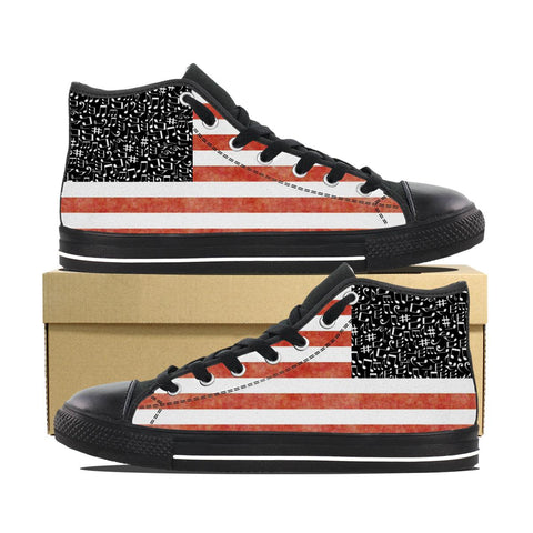 Stripe Music Notes High Top Men's Shoes