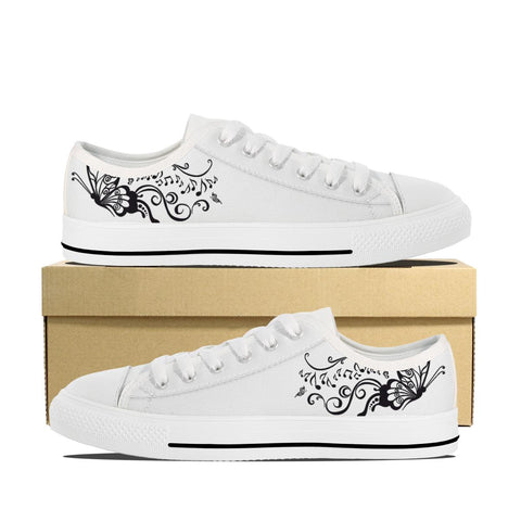Butterfly Musical Notes Kids Low Top Shoes