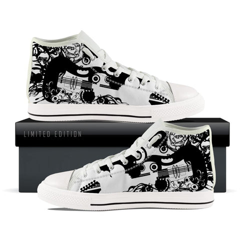 Abstract Back and white Guitar High Top