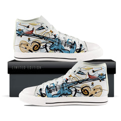 Abstract Guitar Themed Women High Top Shoes