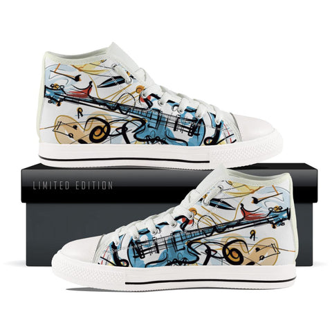 Abstract Guitar Themed Kids High Top Shoes