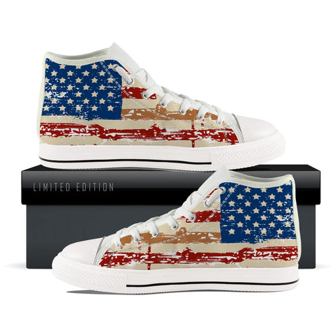 US Flag High Top Shoe