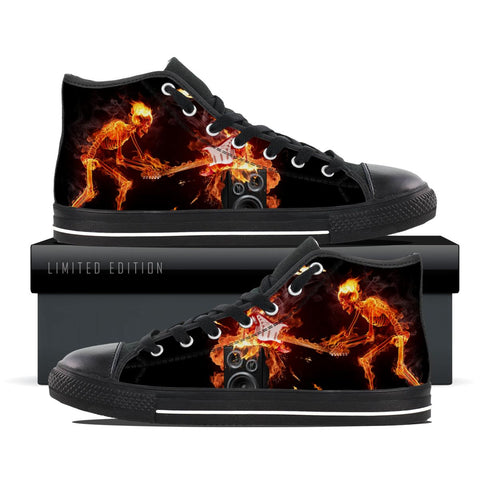 Skeleton Guitarist On Fire High Top Shoes