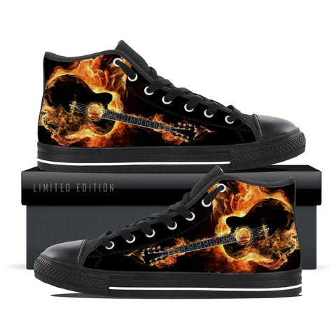 Guitar on Fire High Top Shoes