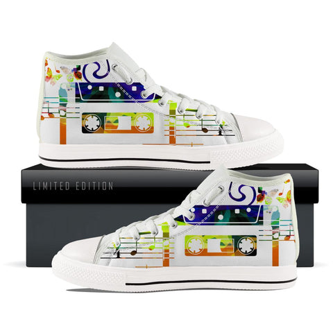 Vintage Music Cassette High Top Shoes