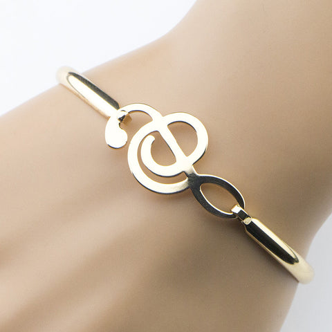 18K Gold Plated Musical Note Bangle Bracelet
