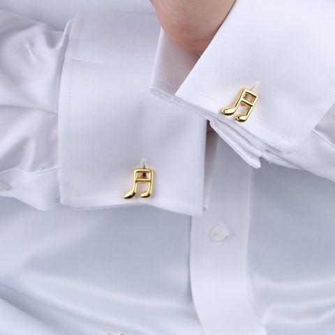 18K Gold Plated Brass Musical Note Design Cufflinks