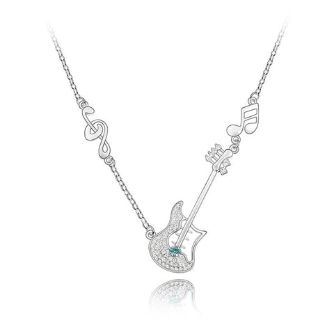18K White Gold Plated Guitar Necklace
