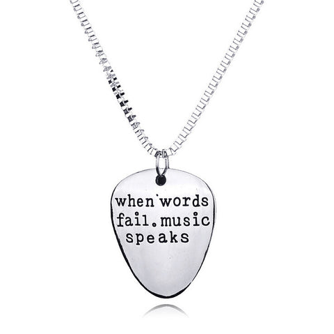 """When Words Fail Music Speaks"" necklace"