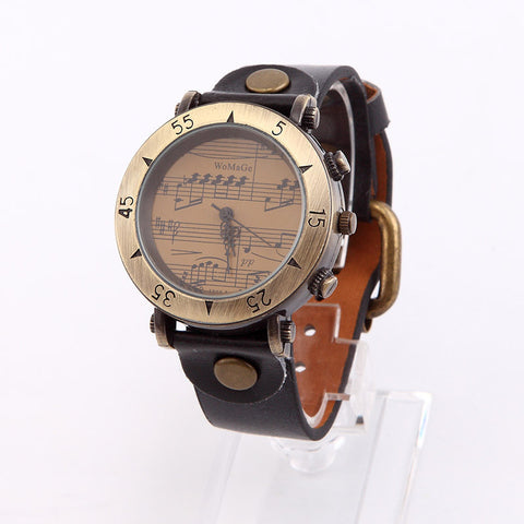 Bronze Quartz Musical Note Wristwatch