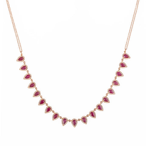 Ariel Teardrop Ruby and Diamond Necklace