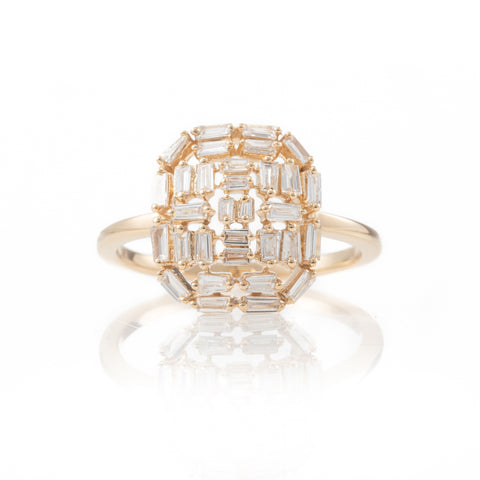 Baguette Deco Shield Ring