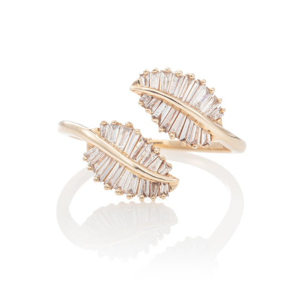 Baguette Leaf Wrap Ring
