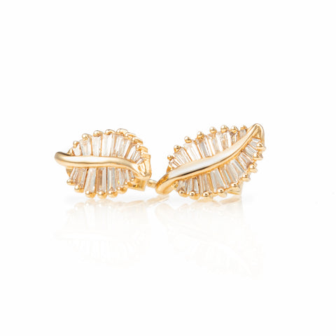 Baguette Leaf Stud Earrings