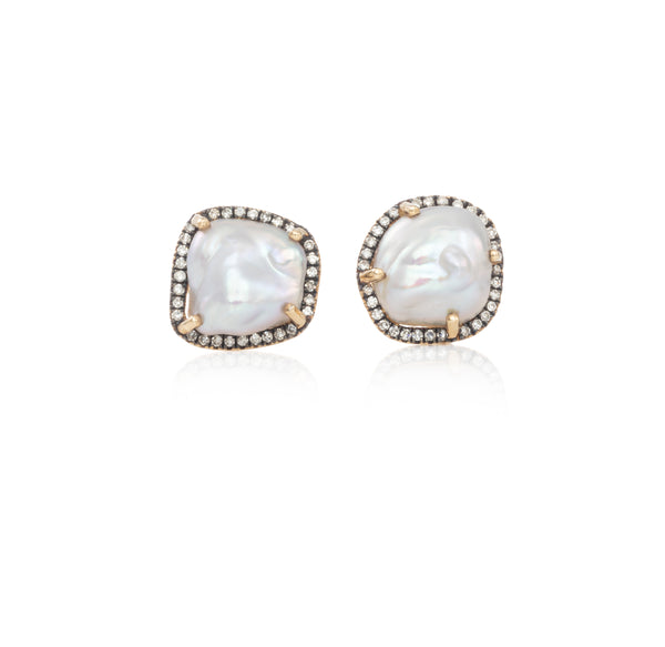 Baroque Pearl Studs with Rhodium