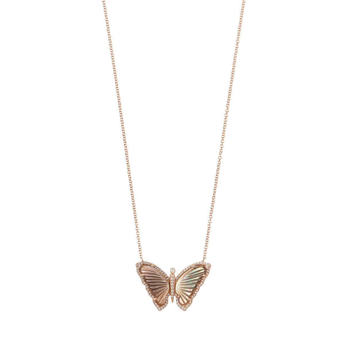 Black Mother of Pearl Butterfly Necklace