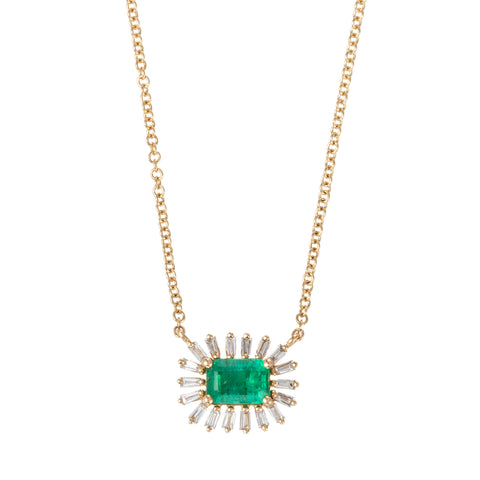Emerald Baguette Burst Necklace