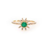 Emerald and Diamond Starburst Ring
