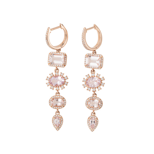 Morganite Magnolia Earrings