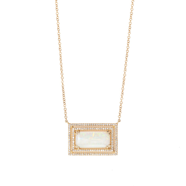 Opal Rectangle Necklace with Double Pave Halo