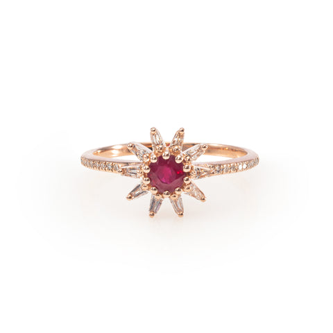 Ruby and Diamond Starburst Ring