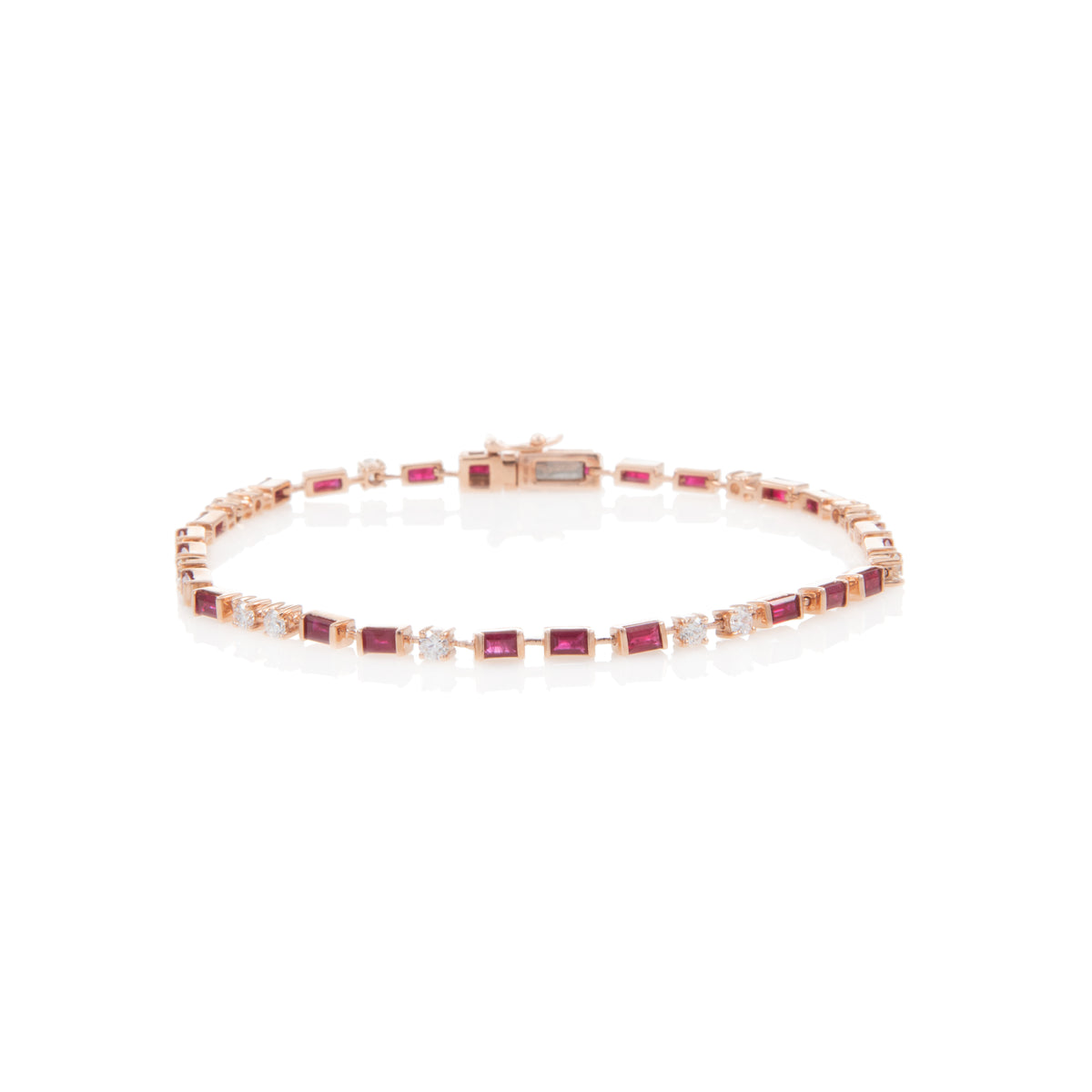Baguette Ruby and Diamond Tennis Bracelet