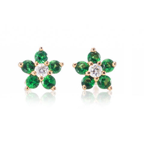 Tiny Tsavorite Flower Studs