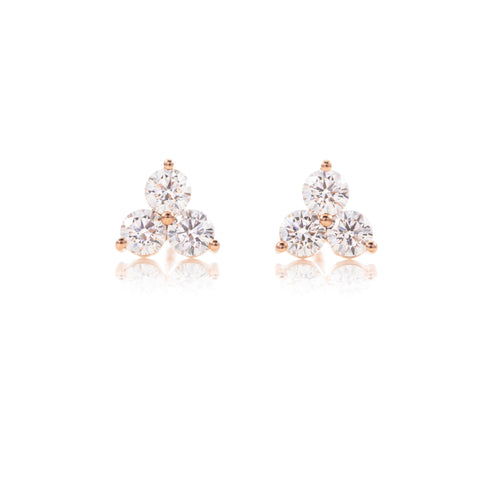 Triple Prong Set Diamond Studs