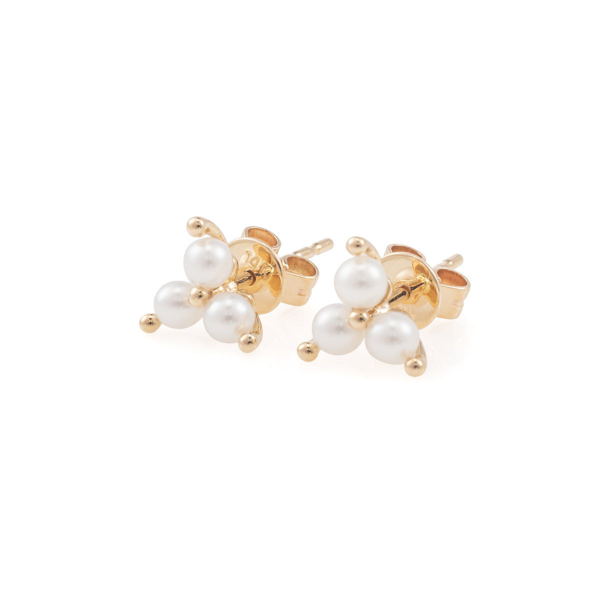 Triple Prong Set Pearl Studs