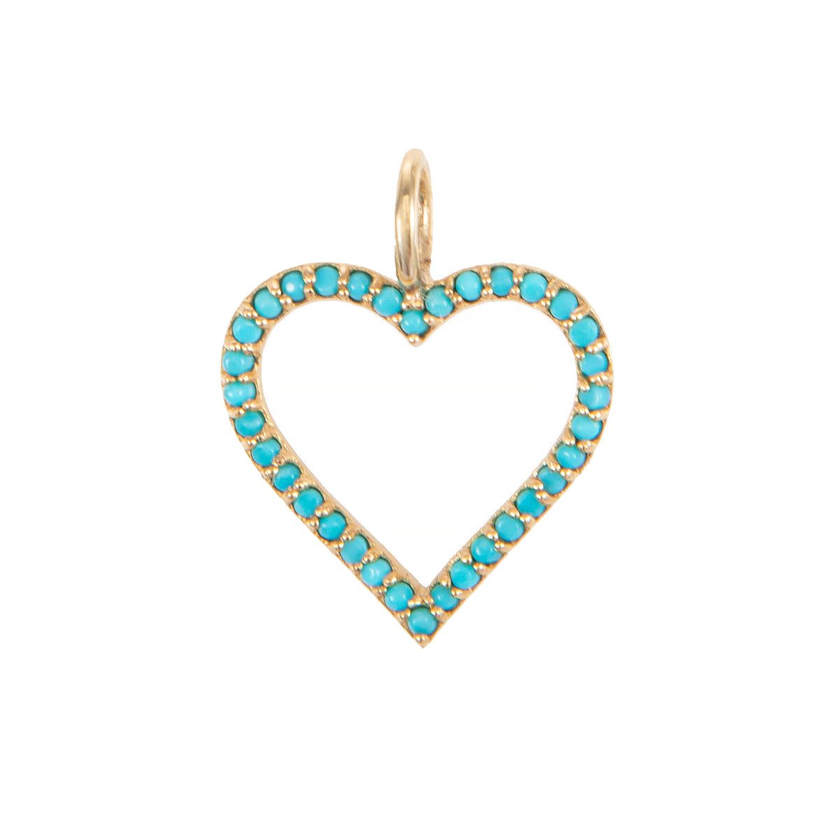 Turquoise Open Heart Charm
