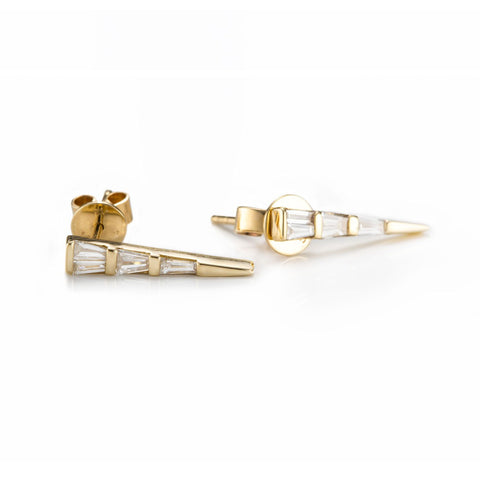 Baguette Dagger Studs-Earrings-Zofia Day Co.