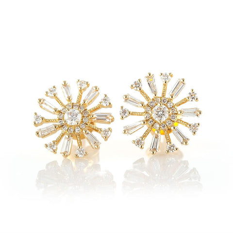 Baguette Pinwheel Studs-Earrings-Zofia Day Co.