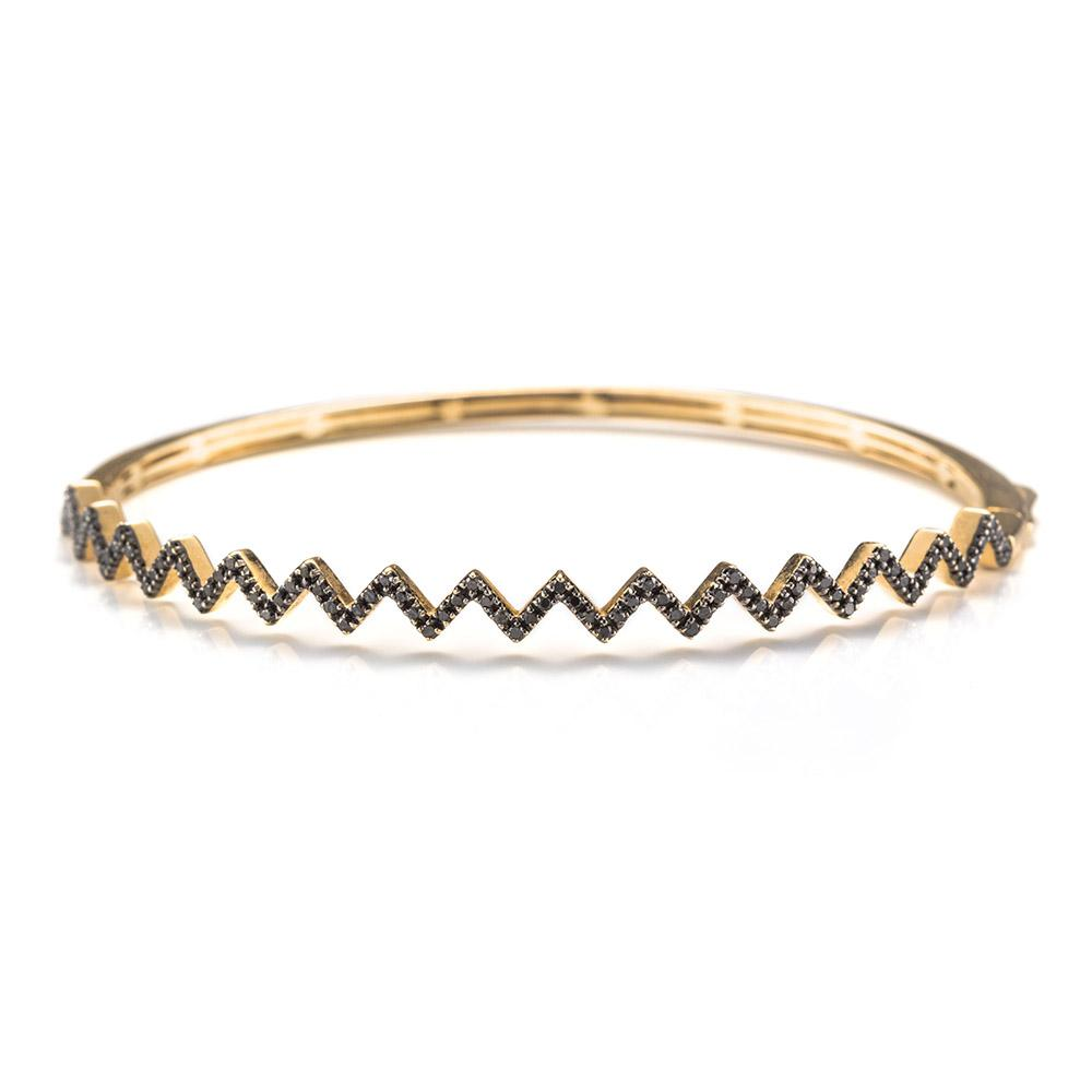 Black Diamond Zig Zag Bracelet-Bracelets-Zofia Day Co.