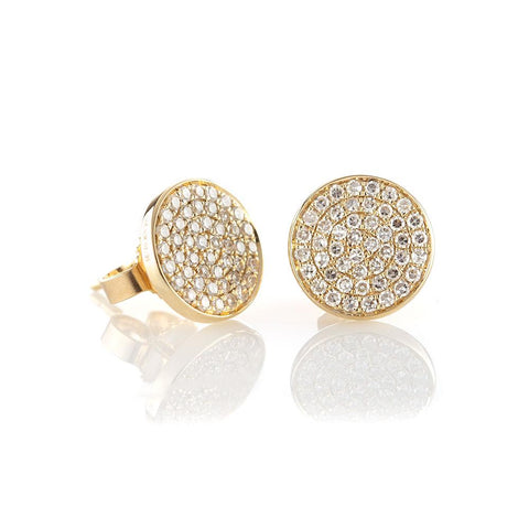 Classic Pave Diamond Disc Studs-Earrings-Zofia Day Co.