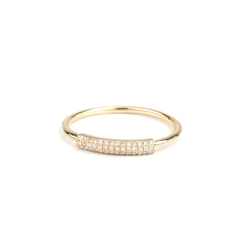 Diamond Pave Barrel Ring-Rings-Zofia Day Co.