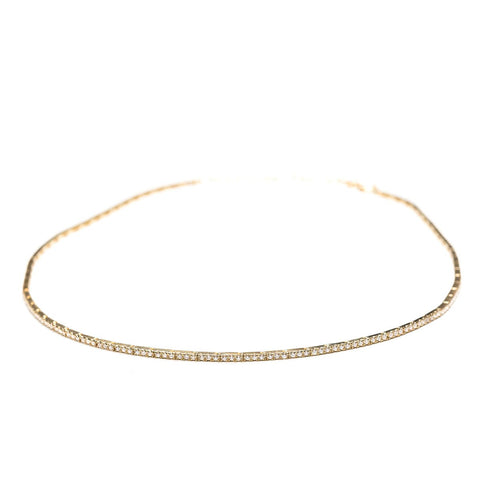 Diamond Ribbon Choker-Necklaces-Zofia Day Co.