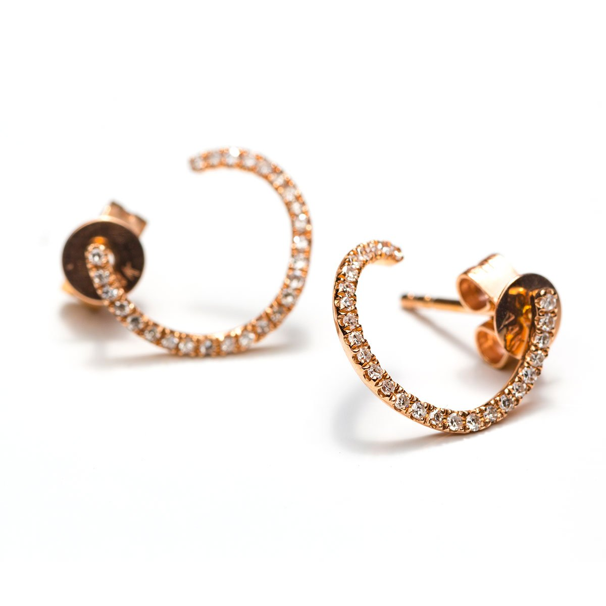 Diamond Spiral Studs-Earrings-Zofia Day Co.