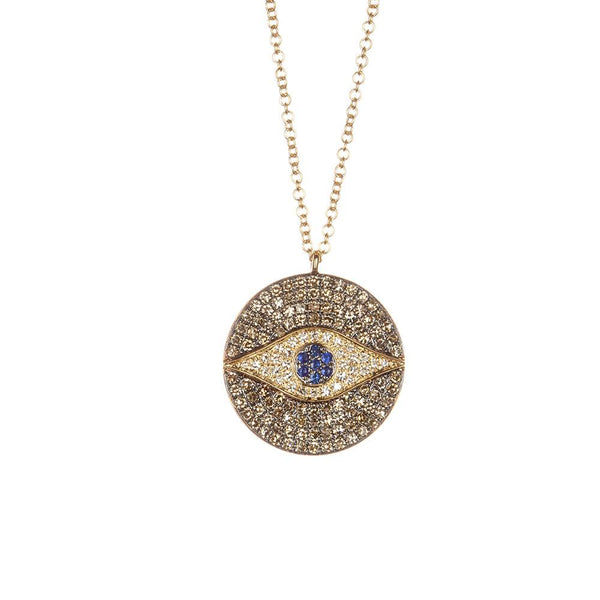 Evil Eye Medallion Necklace-Necklaces-Zofia Day Co.