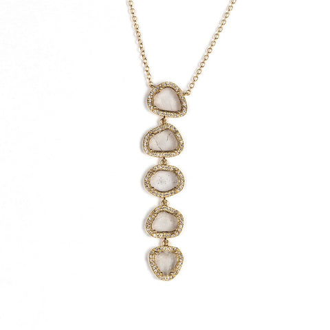 Five Slice Diamond Lariat Necklace-Necklaces-Zofia Day Co.