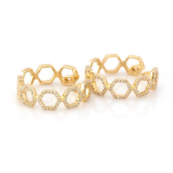 Honeycomb Hoops-Earrings-Zofia Day Co.