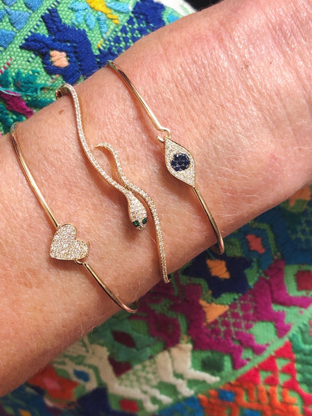 Large Pave Heart Bangle-Bracelets-Zofia Day Co.