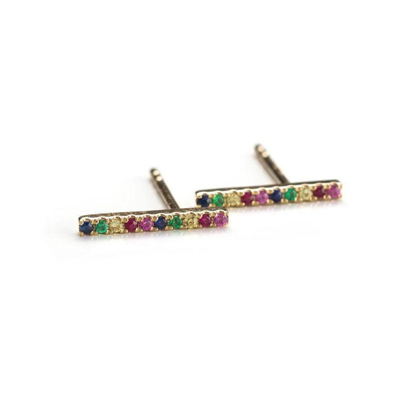 Large Rainbow Bar Studs-Earrings-Zofia Day Co.
