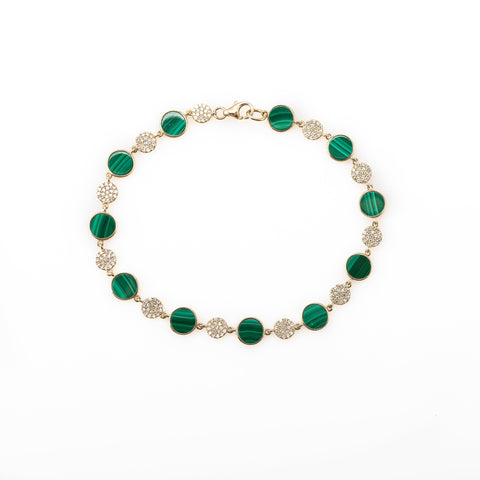 Malachite and Diamond Disc Bracelet-Bracelets-Zofia Day Co.