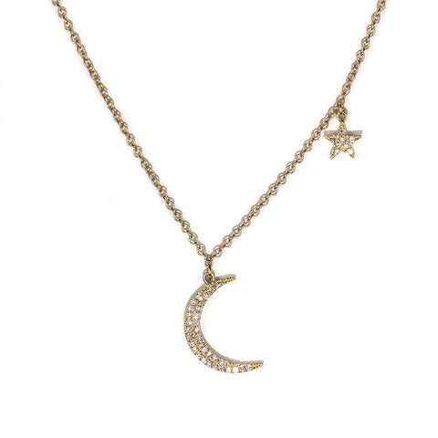 Moon and Star Necklace-Necklaces-Zofia Day Co.